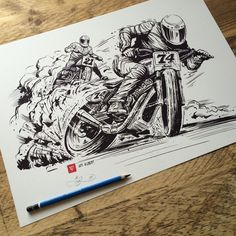 Super Hooligan Flat Track print by Adi Gilbert / 99seconds.com ©  2015. Drawn for Roland Sands Design / Indian Motorcycle. Prints available now on http://99seconds.com