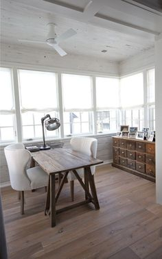 Desk For Two And Small Space I Wish Could Find Something Like This Love The Wood Usedand Floors In House Versatile