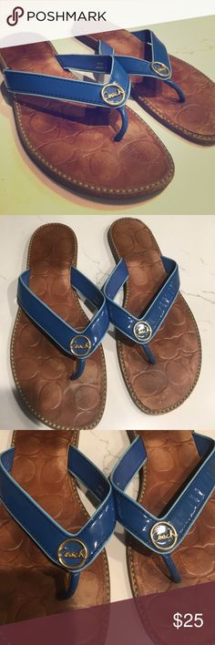 Coach Denny Leather Blue Sandals. Really comfortable coach leather sandals. Good condition, definitely show wear but still no breaks, big scratches or significant wear apart from inner sole. Really a perfect comfy summer shoe! Coach Shoes Sandals