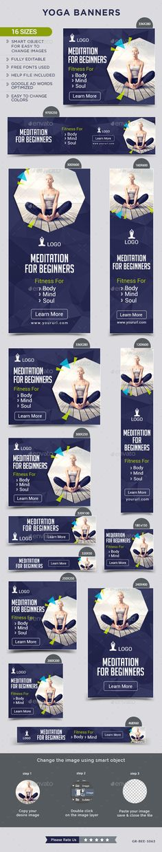Yoga Web Banners Template PSD #ad #design Download: http://graphicriver.net/item/yoga-banners/14287247?ref=ksioks