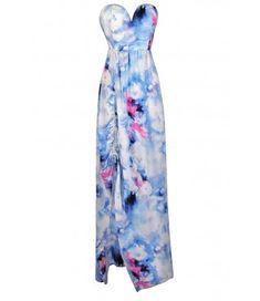 Sky Blue Printed Maxi Dress, Pale Blue Printed Maxi Dress, Blue Pink and White Printed Maxi Dress, Watercolor Printed Maxi Dress, Cute Maxi Dress, Summer Maxi Dress