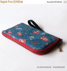 SALE 25% Red Flower on Blue iPhone Case Zippered by soarshadow