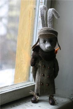 bunny? So much character!Where does the hat come from? It looks familiar. Makes me think Russian or German.
