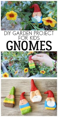 DIY garden gnomes - garden gnomes craft project for children to make this . - DIY garden gnomes – garden gnomes craft project for children to make these simple gnomes as stone - Garden Crafts For Kids, Diy Garden Projects, Craft Projects For Kids, Crafts For Kids To Make, Summer Crafts, Fun Crafts, Diy And Crafts, Kids Diy, Garden Kids