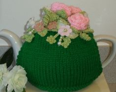 fresh green with roses ......... hand knitted by peerietreisures