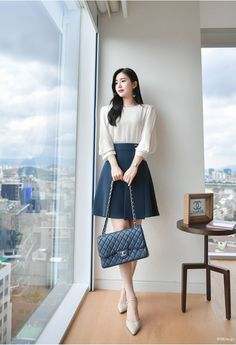 On getting slender feminine calves; Korean Fashion Work, Korean Outfit Street Styles, Korean Outfits, Work Fashion, Cute Fashion, Korean Style Dress, Korean Dress Formal, Korean Fashion Styles, Korean Ootd