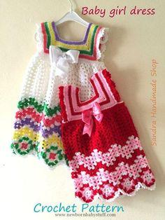 Crochet Baby Dress Crochet Baby Dress PATTERN, Gift For Baby Girl, Babyshower N...