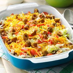 Haystack Supper Recipe -Served as the main dish at our family reunion buffet, this flavorful layered taco-style dish. Folks are pleasantly surprised to find a rice layer, and everyone enjoys the creamy cheese sauce. Beef Dishes, Food Dishes, Main Dishes, Side Dishes, Pasta Dishes, One Pot Meals, Main Meals, Pork Meals, Kitchens