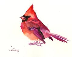 Red Cardinal, Original watercolor painting, 10 x 8 in, brigh red, christmas gift painting, cardinal bird lover art