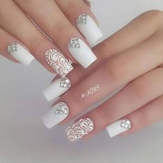 Once you've ticked off the wedding dress and venue, narrowed down the guest list and picked your perfect undo, the only thing left to do is find your suitable wedding nails. If you're subtle… Natural Wedding Nails, Simple Wedding Nails, Wedding Nails For Bride, Bride Nails, Wedding Nails Design, Wedding Dress, Wedding Ceremony, Bridal Nail Art, Crystal Nails
