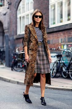 Leopard print at Copenhagen fashion week was mixed with other prints for a…