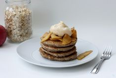 Oatmeal Pancakes with Apples and Peanut Butter Maple Cream |