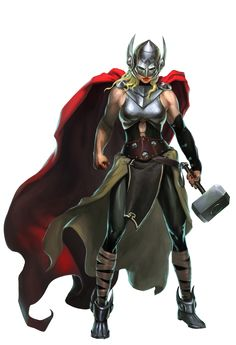 Jane Foster as Marvel's new Thor. Though she is worthy of wielding Mjolnir, the power of the hammer is slowly killing her when she retains her mortal form.