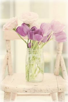 purple tulips, pink roses