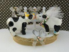 Dairy Cow Wedding Cake Topper / Farm Theme / Rustic by DesignRoom3