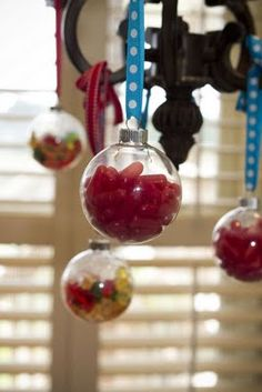 Christmas ornaments filled with candy - love this!