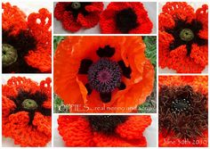 From Suzann Thompson book Crochet Bouquet Tried it in Merino and chunky acrylic with the crochet centre and a button centre the real one is in the centre! Crochet Bouquet, Crochet Flowers, Fabric Flowers, Crochet Poppy, Crochet Art, Chevron Crochet Patterns, Flower Patterns, Pictures Of Poppy Flowers, Remembrance Day Poppy