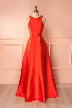 Queenie Red Open Back Silky Gown | Boutique 1861
