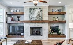 Fireplace Shelves, Fireplace Built Ins, Home Fireplace, Living Room With Fireplace, Fireplace Design, Wood Mantle Fireplace, Wood Mantels, Fireplace Ideas, Fireplace In Kitchen
