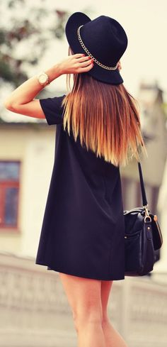 Adorable street style navy dress and hat