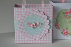 Pink or yellow  baby shower gift bag favor by steppnout on Etsy, $1.75