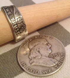 Silver Ben Franklin Coin Ring - Pre 1965 Year Coin - Hand Made USA