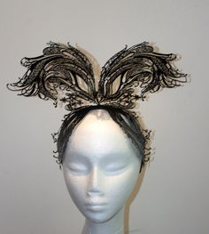 Desinger metal lace fascinator one of a by TwistedInTheTropics Fascinator, Headpiece, Black Wings, Trending Outfits, Unique Jewelry, Handmade Gifts, Metal, Hats, Vintage