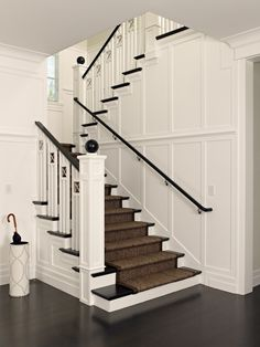 Polsky Perlstein Architects - entrances/foyers - Z Gallerie Marcella Umbrella Holder, traditional staircases, black staircase banisters, bound sisal runners, staircase runners, traditional staircase runners, white umbrella stand, contemporary umbrella stands, umbrella stands with nailhead trim, sisal stair runner,