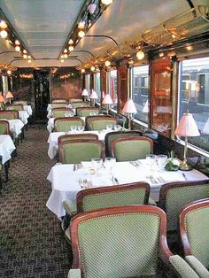 An elegant dining car on an old train. One of the most favorite things I love to do is ride trains.