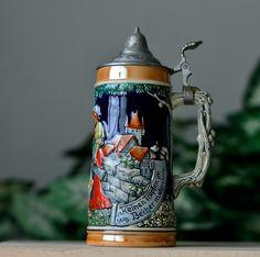 Vintage ,Beer Mug,West Germany, Gerz Keinen, Tropfen, Imbecher ,Mehr ,Metal Top ,Beer Stein by HoneyQueenBee on Etsy