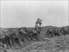 """Battle of the Somme, July 1, 1916 Still from film of the Battle of the Somme. Sequence 31 (""""The Attack"""") - first stage. Courtesy of the Imperial War Museums (© IWM, Q 70164) London, England. http://www.iwm.org.uk/collections/item/object/205019092"""