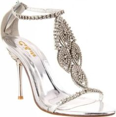 £39.99  Shoehorne Crystal-05 - Womens Dazzling Silver Rhinestone/Diamante T-Strap High Heels Evening Sandals w/ jewelled heel - Avail in Ladies Shoe Size 3-8 UK: Amazon.co.uk: Shoes & Accessories