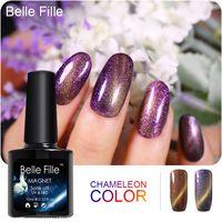 UV Chameleon Nail Gel 3D Magnetic Line Cat Eye BELLE FILLE 10ml Color fingernail Polish Base Top Coat Needed Glitter Varnish