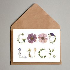Printed pressed flower greeting cards by Sweet Pea Print Design. Printed on card Blank inside Individually packaged in a cellophane bag with a brown kraft paper envelope. Flower Words, Flower Letters, Good Luck Cards, Flower Artwork, Pressed Flower Art, Irish Art, Flower Crafts, Greeting Cards Handmade, Creative Gifts