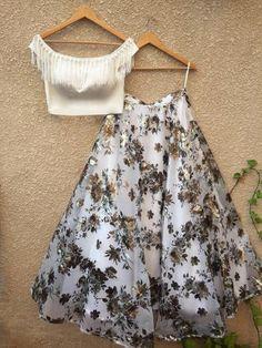 White Off-Shoulder Blouse & Floral Foil Print Lehenga