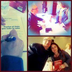 Alfred López firmando ejemplares del libro Vuelve el listo que todo lo sabe (Collage gentileza de Laura Luna)