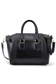 Crocodile Black Buckle Bag
