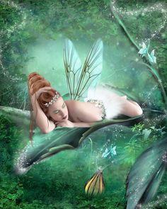 Just Another Fairy Day--- Katt Amaral fairy art painting fantasy Fairy Dust, Fairy Land, Fairy Tales, Magic Fairy, My Fantasy World, Fantasy Art, Fantasy Dolls, Fantasy Images, Magical Creatures