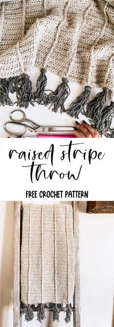 Modern Crochet Blanket, Crochet Throw Pattern, Striped Crochet Blanket, Crochet Shawl, Crochet Stitches, Free Crochet, Crochet Patterns, Crochet Throws, Crochet Christmas Blanket