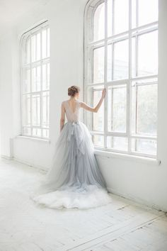 Subtle blue hue in is perfect for a non traditional wedding gown.