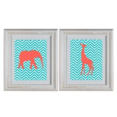 Chevron Jungle Animals Nursery Wall Art DIY Printable in coral and aqua by DecorableDesigns, Great baby shower gift!