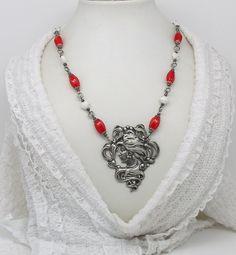 NECK  9 Art Nouveau necklace head women by ClassOfGlass on Etsy