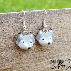 Boucles d'oreilles loups gris (fimo) petite tête de louveteau little wolf