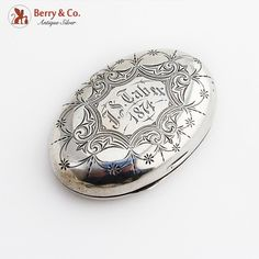 "Inscribed ""J. Smoking Accessories, Silver Coins, Antique Silver, Boxes, Leaves, Buttons, Patterns, Antiques, Vintage"