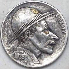 GEDIMINAS PALSIS HOBO NICKEL - SHERIFF WITH 24 KT GOLD INLAY - 1935 BUFFALO PROFILE Hobo Nickel, Art Forms, Making Out, Sculpture Art, Buffalo, Classic Style, Coins, Carving, Sheriff