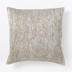 Metallic Pleats Square Pillow Cover - Silver | west elm