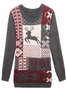 Designer Clothes, Shoes & Bags for Women Cute Sweaters, Girls Sweaters, Sweaters For Women, Grey Sweater, Long Sleeve Sweater, Sweater Cardigan, Reindeer Sweater, Dress To Impress, Autumn Fashion