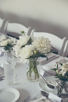 Zoe & Andrew Sydney Wedding at Manly Wine Suites, The Sebel | Flowers by Lime Tree Bower | table centrepieces with dahlias and ferns in glass vases, minimalist beach luxe theme