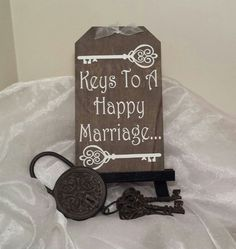 Keys To A Happy Marriage Wedding Sign Rustic by CraftyWitchesDecor, $21.95