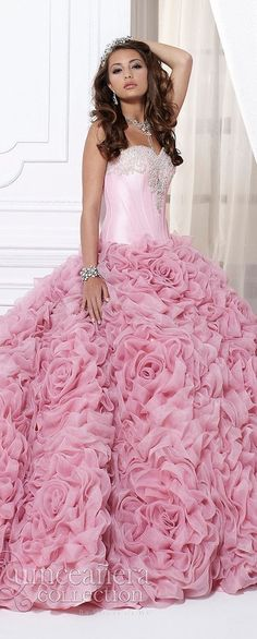 Strapless Pink Embroidered Fitted Bodice + Ball Gown Skirt w Ruffled Rosettes 2015 Beauty And Fashion, Pink Fashion, Quinceanera Dresses, Prom Dresses, Wedding Dresses, Pink Love, Pretty In Pink, Vestidos Color Rosa, Estilo Fashion